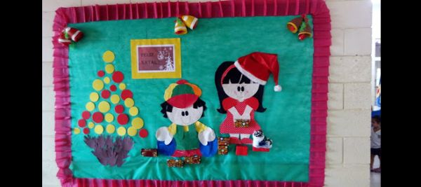 mural de Natal para escola comum