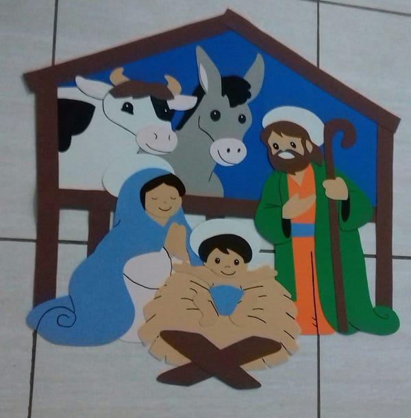 mural de Natal para escola presepio