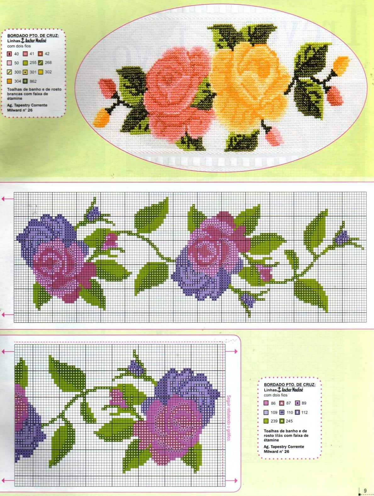 flor de ponto cruz roxa
