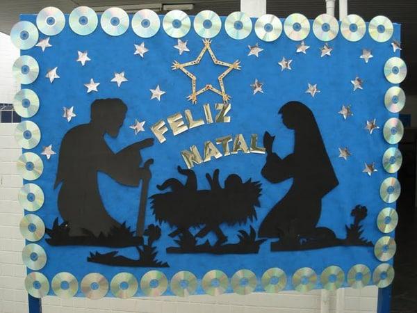 mural de Natal para escola azul