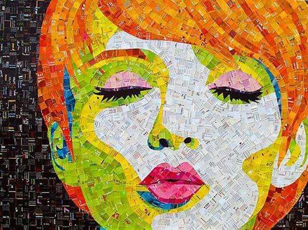 mosaico de papel rosto