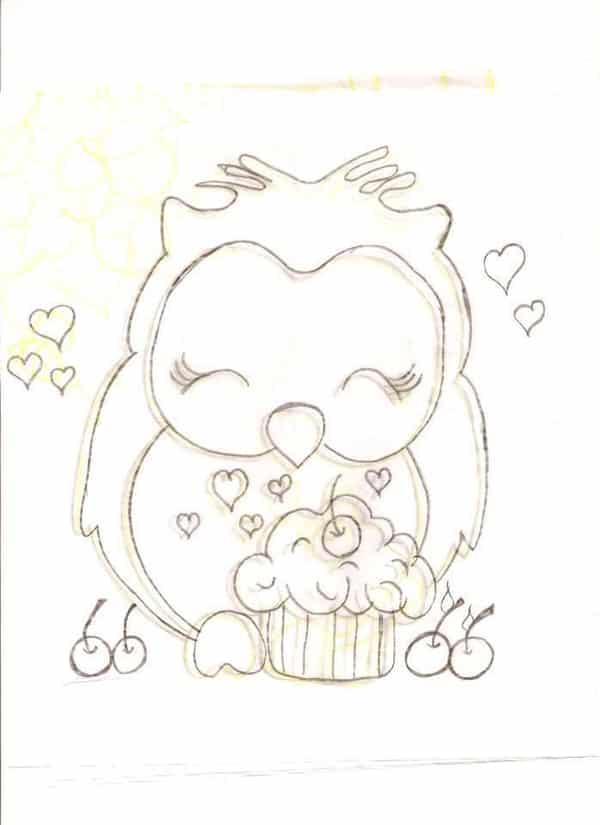 desenho de coruja cupcake