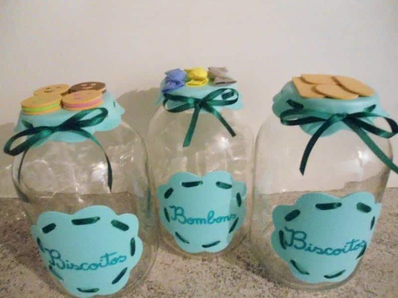 26 Vidros Decorados com EVA com Moldes -> Decoração De Vidros De Conserva Com Eva