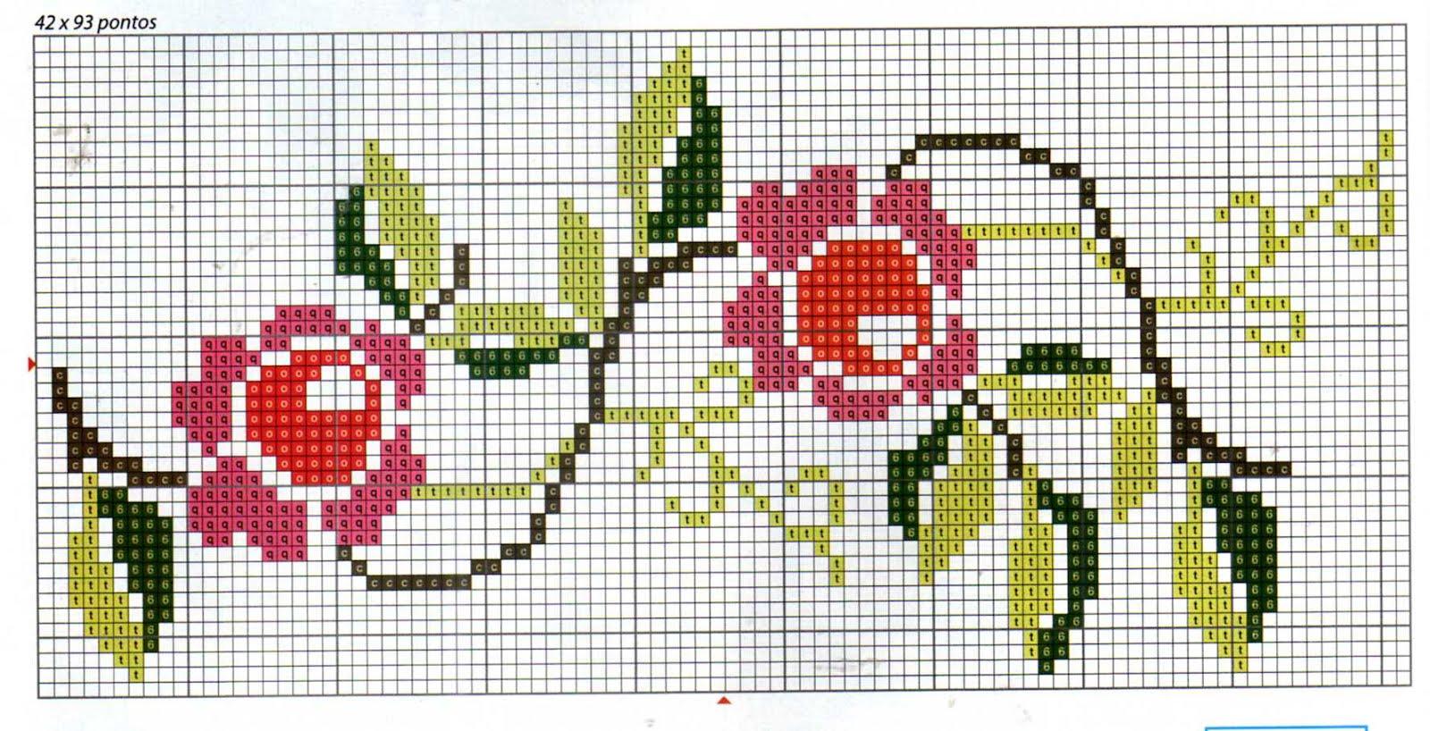 flor de ponto cruz rosinha
