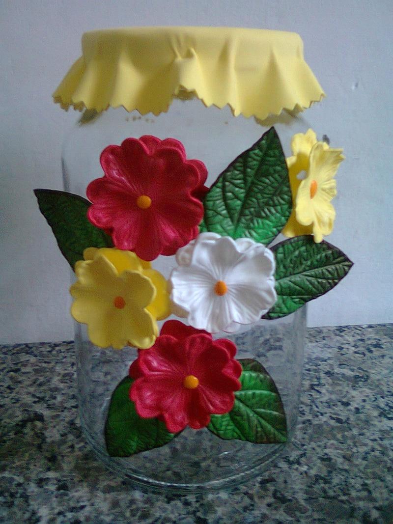pote decorado flores
