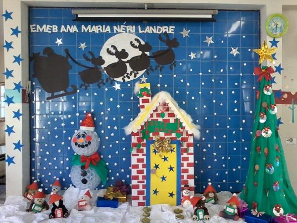 mural de Natal para escola boneco de neve