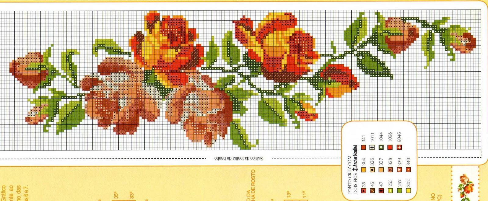 flor de ponto cruz sombreadas