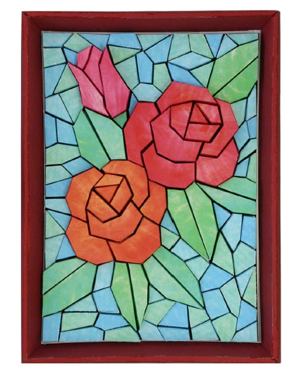 mosaico de papel rosas