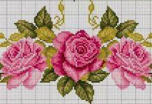 flor de ponto cruz rosa