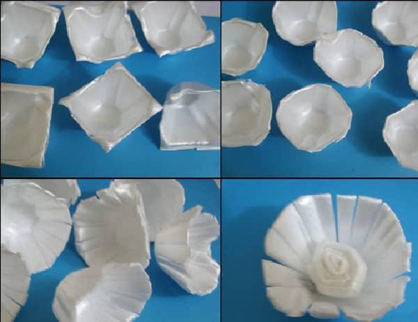 flores de caixa de ovo isopor