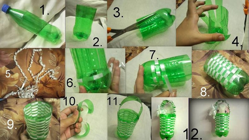 reciclagem de garrafa pet cesto