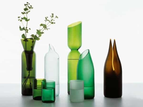garrafa de vidro cortada diferente