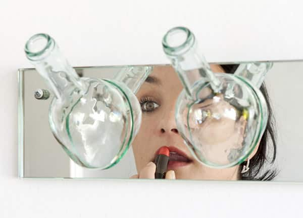 garrafa de vidro cortada espelho