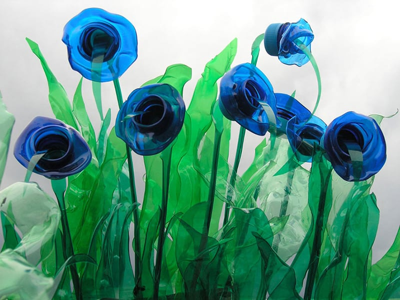 reciclagem de garrafa pet flor