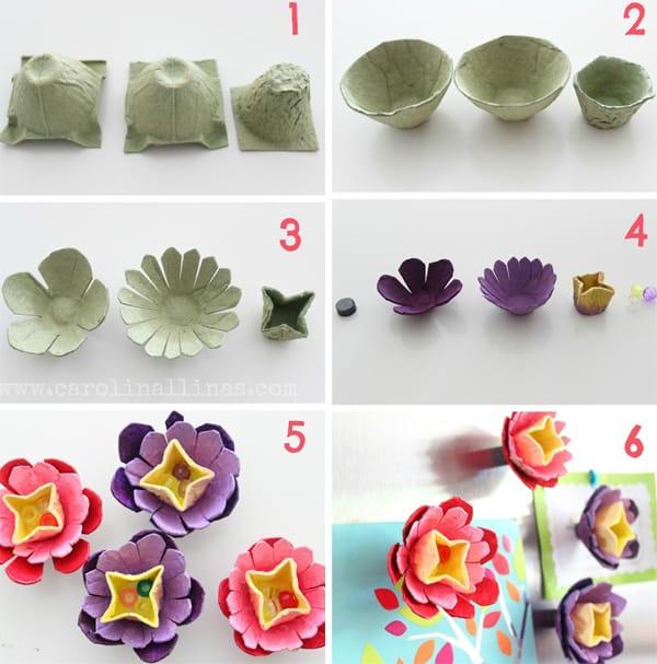 flores de caixa de ovo coloridas