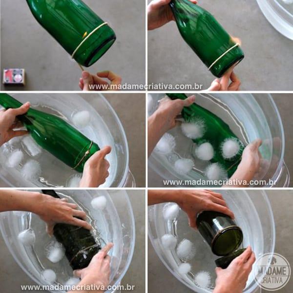 garrafa de vidro cortada passo a passo