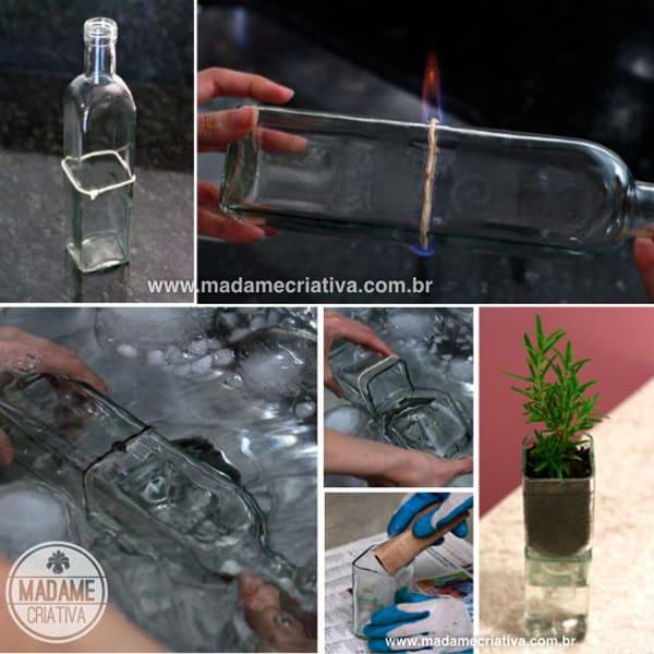 como fazer garrafa de vidro cortada