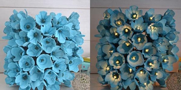 flores de caixa de ovo azul
