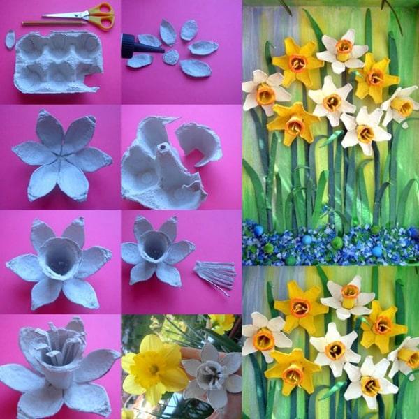 flores de caixa de ovo amarelas