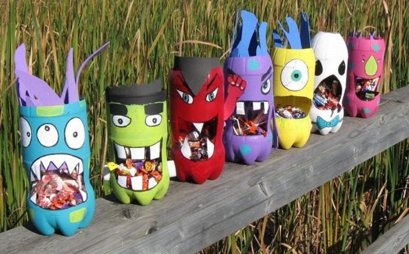 reciclagem de garrafa pet monstro