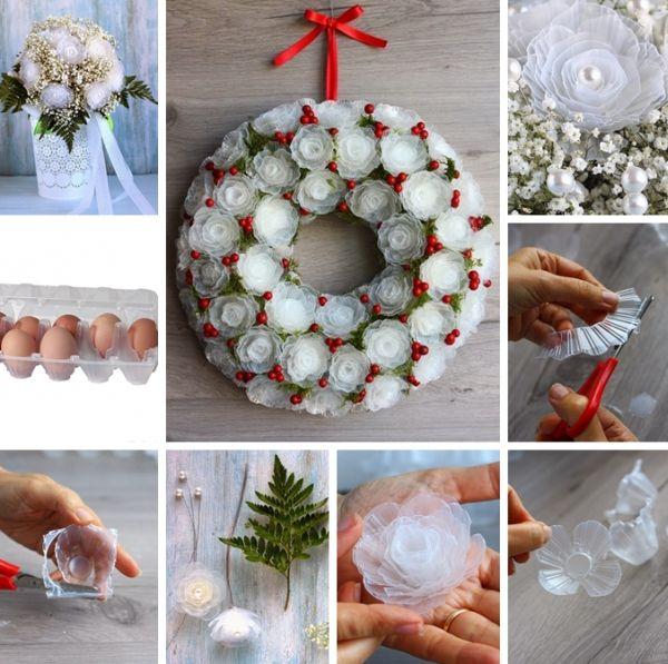 flores de caixa de ovo plastico