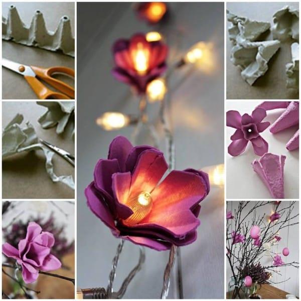 flores de caixa de ovo roxa
