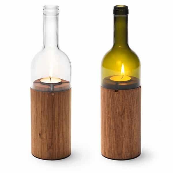 garrafa de vidro cortada vela