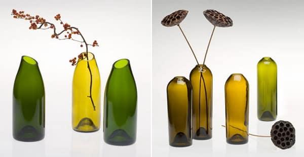 garrafa de vidro cortada vaso