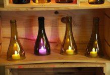 garrafa de vidro cortada luminaria