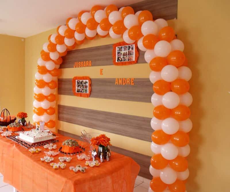 arco de baloes laranja