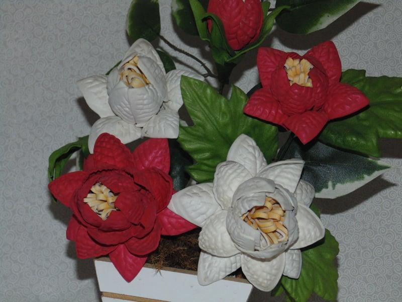 vaso com flores eva