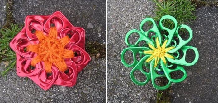 flores recicladas de lacre de latinha