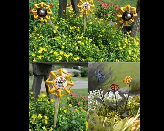 flores recicladas de torneiras