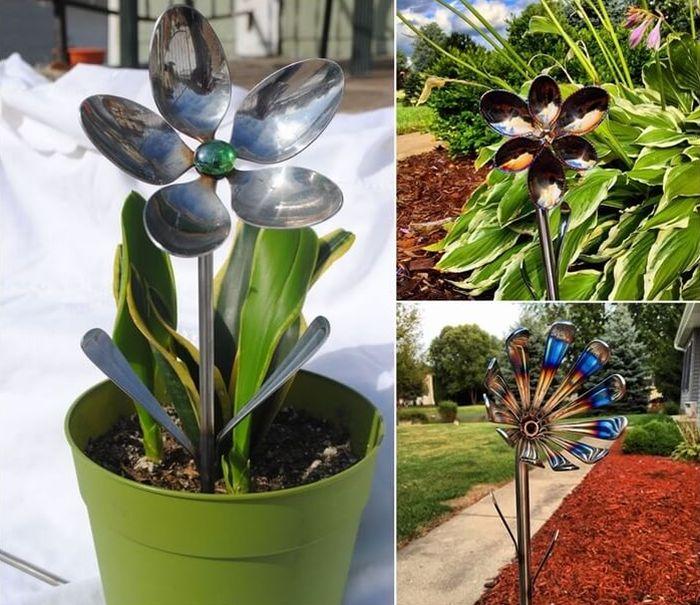 flores recicladas de talheres