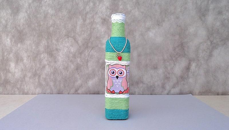garrafa decorada com coruja