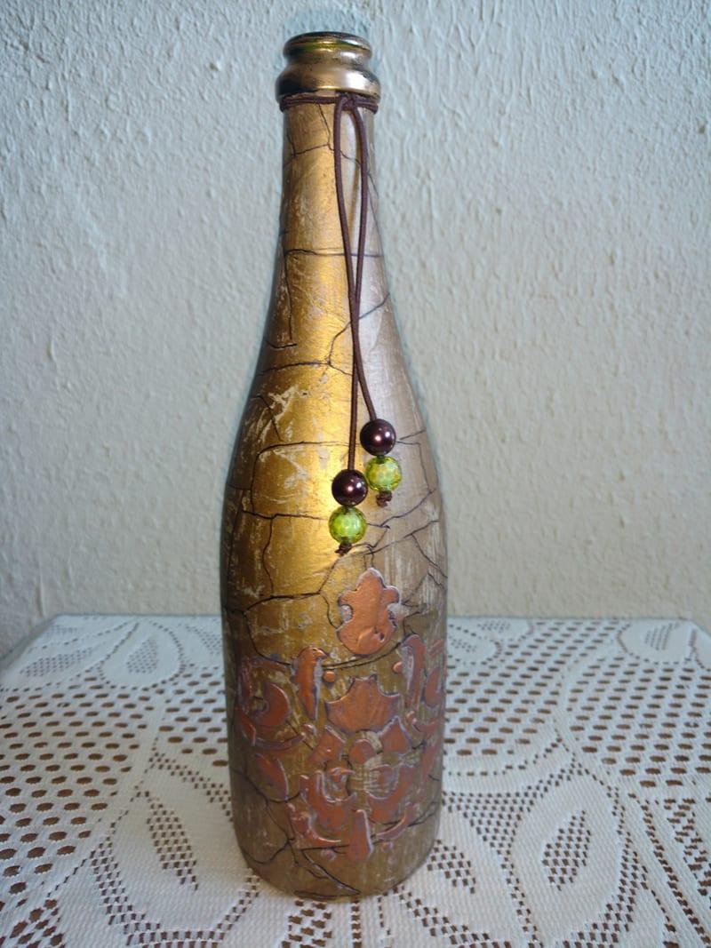 garrafa decorada craquele metalizado