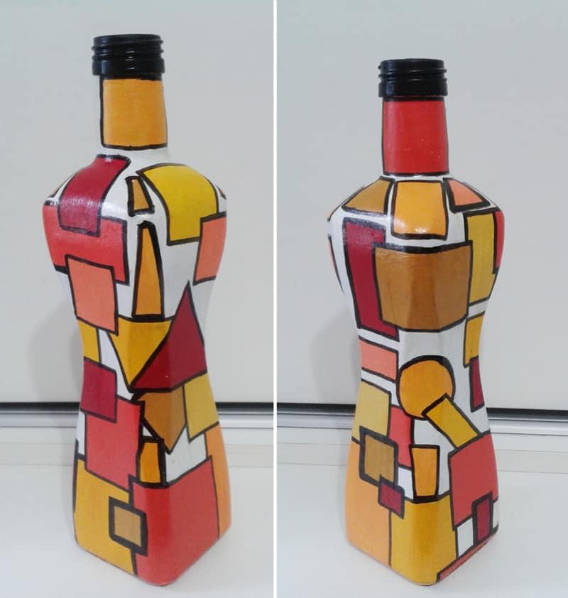 garrafa decorada quadrada