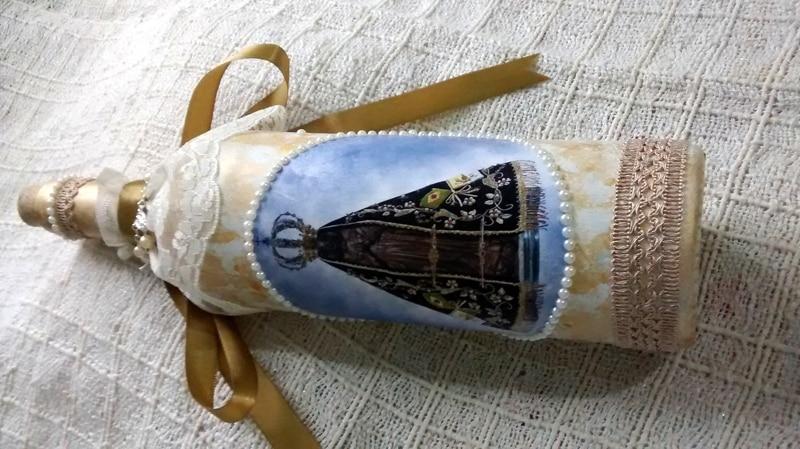 garrafa decorada religiosa