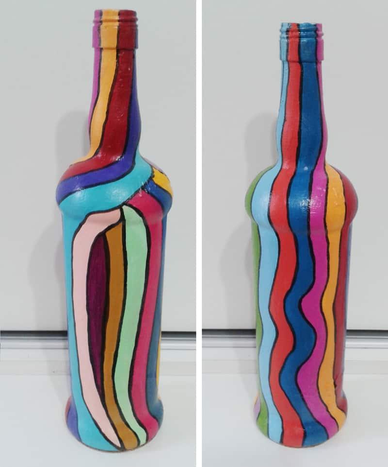 garrafa decorada com listras