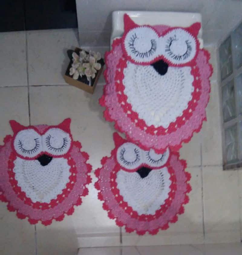 jogo de banheiro de croche criativo