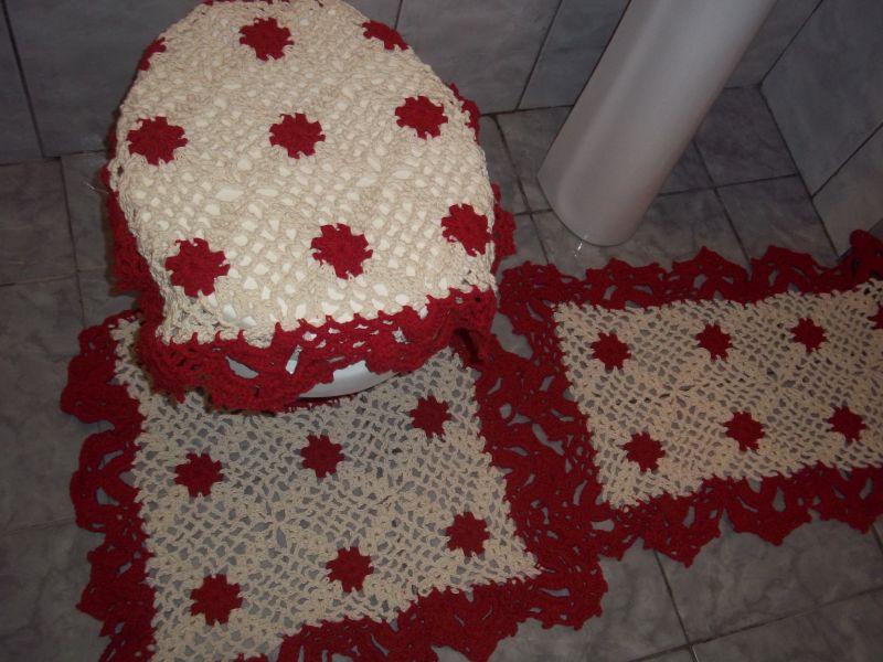 jogo de banheiro de croche vermelho