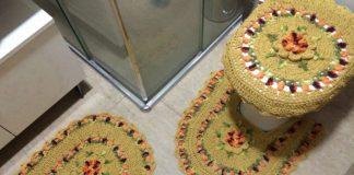 jogo de banheiro de croche amarelo