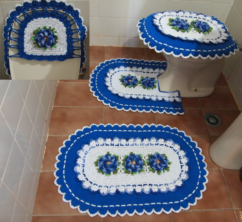 jogo de banheiro de croche branco