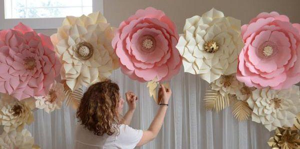 flor gigante de papel molde e passo a passo