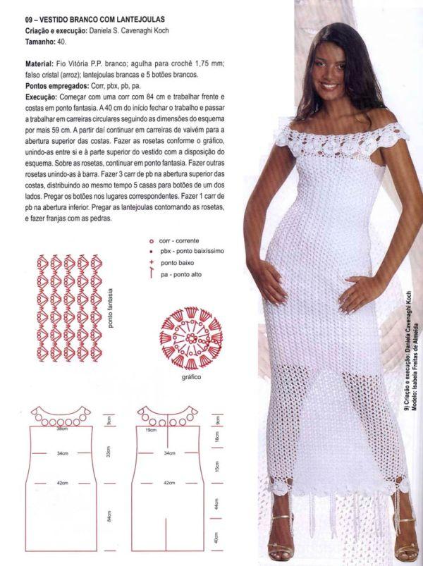Vestido De Crochê Longo Com Gráfico 15 Fotos E Modelos