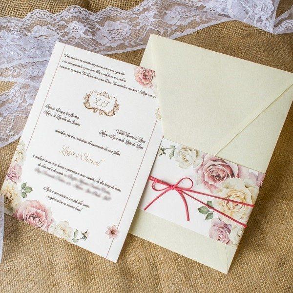 convite-de-casamento-floral com envelope