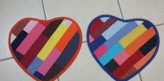 tapete de retalho coração