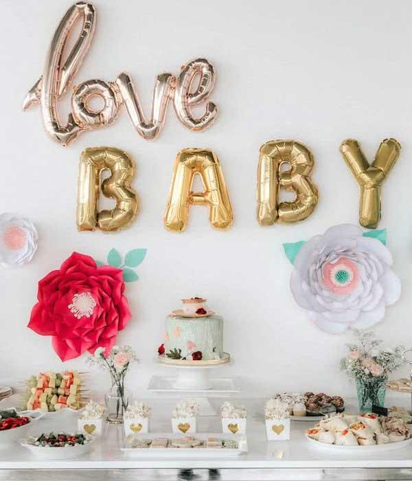 Balões Metalizados para decoração de chá de bebê