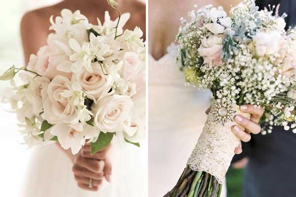 Buquê de noiva com flores brancas