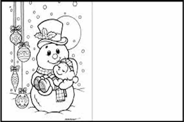 Cartão de natal para imprimir boneco neve